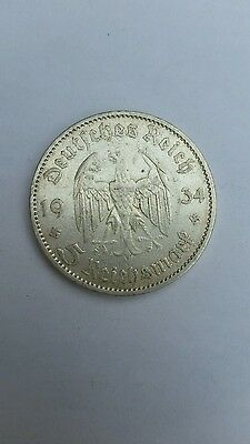 German 5 Marks Rare Potsdam Church Nazi Coin 90% Silver 1934A WW2 Germany