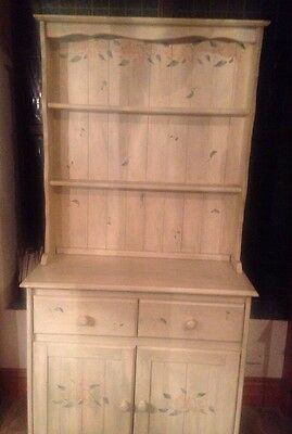 Vintage Painted Green & Stencilled Farmhouse Pine Dresser Cabinet Upcycle