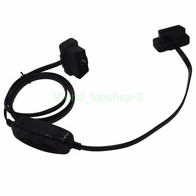 OBD 2 OBDII Auto Extension Cable Adapter 16Pin with Power Switch for ELM327 HUB