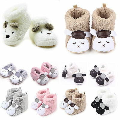 Newborn Baby Toddler Boy Girl Cartoon Anti Slip Boots Warm Slippers Crib Shoes