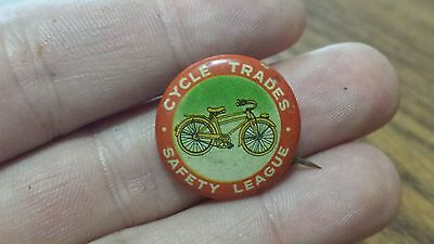 Vintage Bicycle Pin Pinback Cycle Trades Safety League