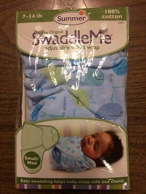 Summer Infant Swaddleme Cotton Small/medium,  7-14 Lbs Blue Whales
