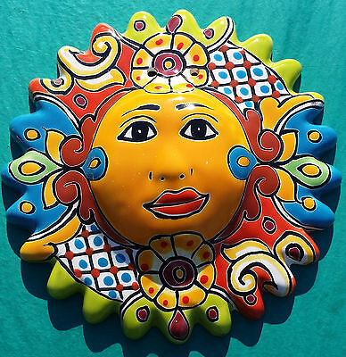 "El Sol Mexican Sun Talavera Hanging Wall Art 9"" Hand Painted Ceramic"