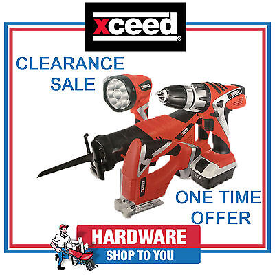 Xceed 18v Lithium Ion Cordless Drill, Jigsaw, Recipro Saw and Torch Combo Kit