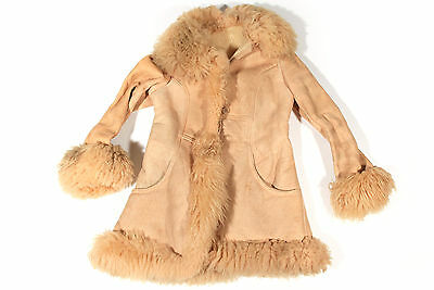 Suede Shearling VTG Coat Jacket Almost Famous 70's Hippie Boho Sheepskin SMALL S