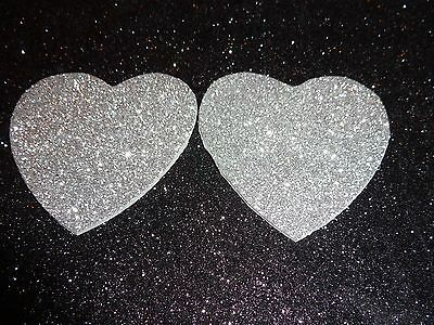 Nipple Covers/ Pasties Glitter Silver Hearts