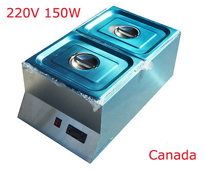 New 220V 2 Pan Dry Well Bain Marie 150W Chocolate Tempering Melter Food Warmer