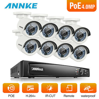 ANNKE 8CH 6MP NVR 8x 4MP Outdoor IP Cameras Network POE Security System True WDR