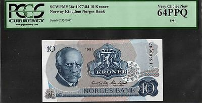 "Norway ""Norges Bank"" (1984) PCGS 65 PPQ 10-Kronur {GRADED} Very Choice New: P36c"
