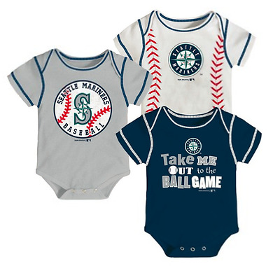 6c4fda78911 MLB Seattle Mariners Bodysuits Rompers Creepers baby infant   3 pack
