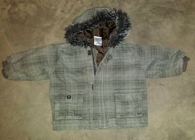 BABY BOYS Sz OO olive green DYMPLES checkered hooded jacket WARM! FUR TRIM! COOL