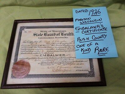 Grampa's Wisconsin Board of Health Embalmer Certificate Dated 1926  Framed