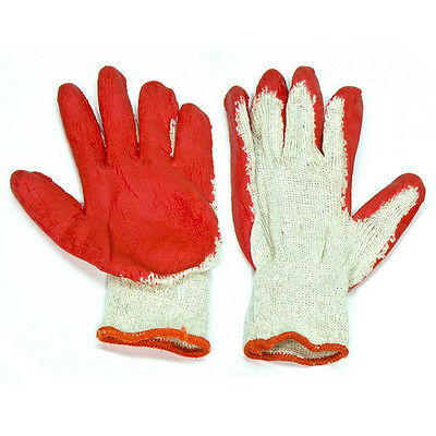 Rubber Coated Palm Cotton Work Gloves x 10 Pairs