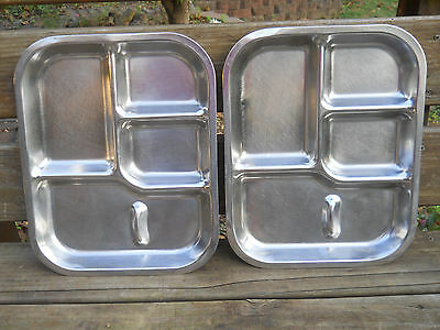 2 Stainless Steel Divided Food Trays-Am.Permanent Ware Co/Dallas-Military/Prison