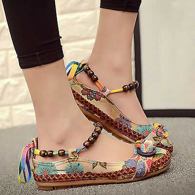 Women's Ethnic Lace Up Beading Round Toe Flats Colorful Loafers Shoes New Trendy