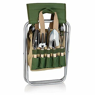 Picnic Time 5-Piece Garden Tool Set with Tote and Folding Seat