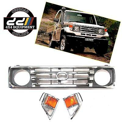 Toyota Landcruiser 75 78 79 series Grille Grill & Indicator set CHROME Lamp