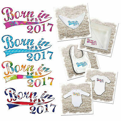 Born in 2017 - baby bodysuits, bibs & muslins available. Various designs.