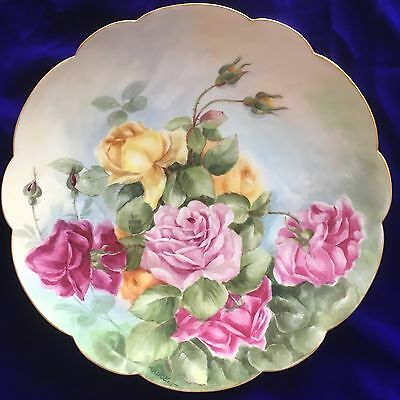"""Amazing Huge 13 5/8"""" Hand Painted Roses Antique Limoges France Plate"""