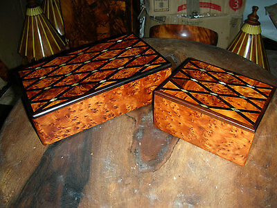 2x Thuya Wood Jewellery Box Inlaid With Mother Of Pearl Hand-made in Morocco