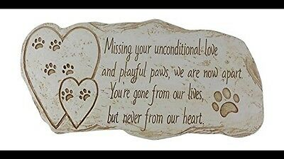 Pawprints Remembered Pet Memorial Stone Marker for Dog or Cat - For Outdoor
