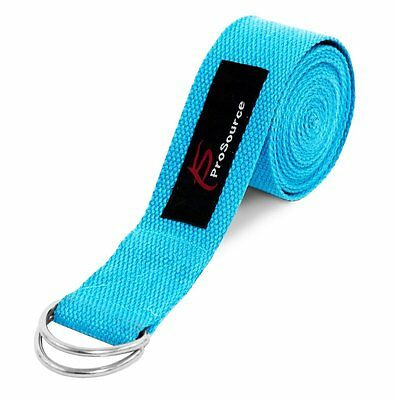 ProSource Yoga Strap with Metal D-Ring, Blue