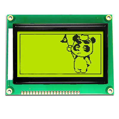 GLCD 128x64 ST7920 Graphic LCD Module Dark blue over yellow green screen