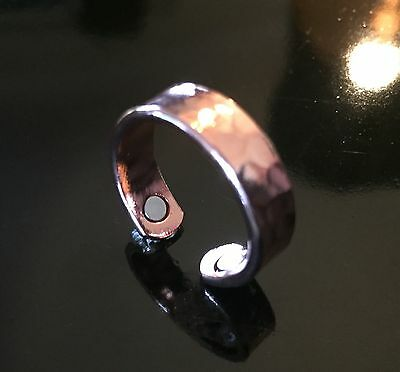 Copper Magnetic Therapy Ring Hammered Pattern Pure Mens Womens Healing Arthritis