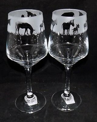 """New Etched """"DONKEY WINE GLASS(ES)"""" - You can purchase 1 or 2 - Beautiful Gift"""