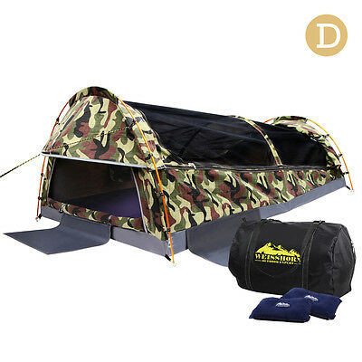 Double Dome Camping Canvas Swag Tent with Bag,Mattress & 2 Air Pillow-Camouflage