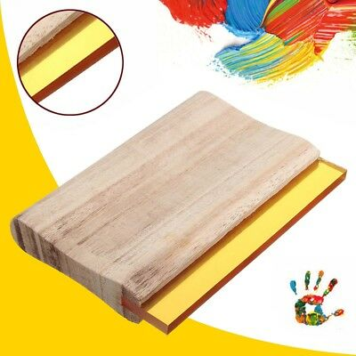 "Silk Screen Printing Squeegee Blade Wooden Handle Ink Scraper 6"" Scratch Board"