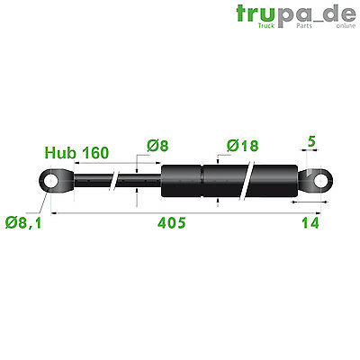 Gasdruckfeder Lift Haubenheber 250N Hub=160 Länge 405/420 Ø 8/18 mm - Made in EU