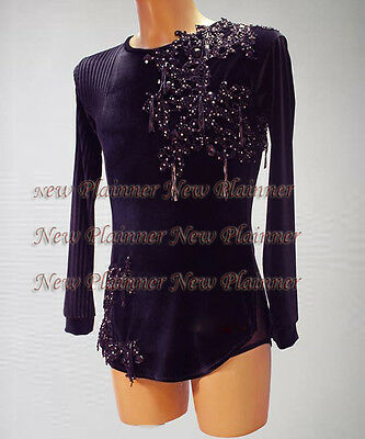 M385 Men Latin/Rhythm/Salsa Ballroom Dance Shirt Size XXL Black sleeve crystals