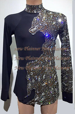 M356 Men Latin/Rhythm/Salsa Ballroom Dance Shirt Size XXL Black sleeve crystals