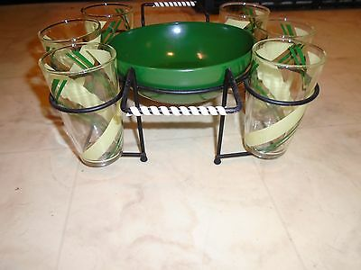 Vintage 1950s Hiball Cocktail Glasses with Ice Bucket-Chip Bowl w/Caddy Bar Set