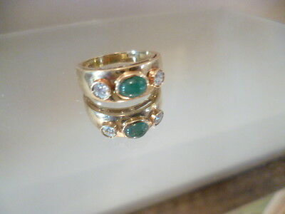Cabochon Ring with Emerald and Diamonds 18ct gold