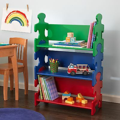 Kidkraft Primary Puzzle Bookshelf - Kids Wooden Shelving Unit Bookshelf