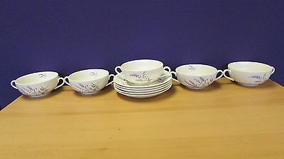 Set Of 5 J&G Meakin Doubled Handled Soup Bowls & Saucers 13 E131