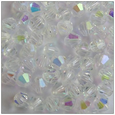 crystal beads x100 200 300 bicone clear ab 4mm jewellery making tiaras craft