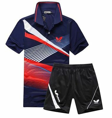 Free shipping men's Tops table tennis clothing Badminton T-shirt +Shorts