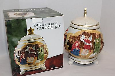 Lovely Jay Import Ceramic NATIVITY SCENE Footed Christmas Cookie Biscotti Jar