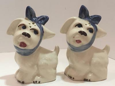 Vintage Shawnee Pottery MUGGSY DOGS Salt and Pepper Shakers Set w/ Blue Bows