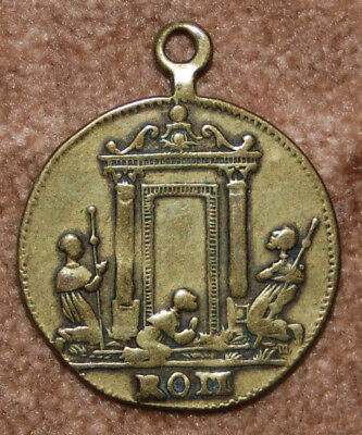 Antique Bronze Medal Pendant St. Peter JUBILEE YEAR ROME Medalla 19th C.