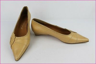 Ballet flat Pointed RUDY'S Paris Beige Leather Biscuit T 38 VERY GOOD CONDITION
