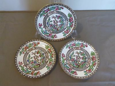 3 Coalport Indian Tree Multicolor Scalloped Edge Dessert Plates