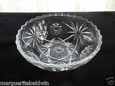 """Anchor Hocking Glass Clear Early American Prescut 5 1/4"""" Scalloped Bowl"""