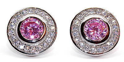 Sterling Silver Pink Sapphire And Diamond 2.26ct Stud Earrings (925)