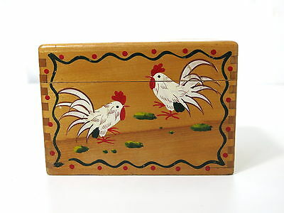 Woodpecker Wood Ware Hand Painted Rooster Wood Recipe Box  Japan Dovetail 1572