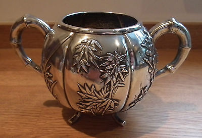 Heavy Gauge 19Th Century Chinese Export Silver Sugar Bowl By Luen Wo