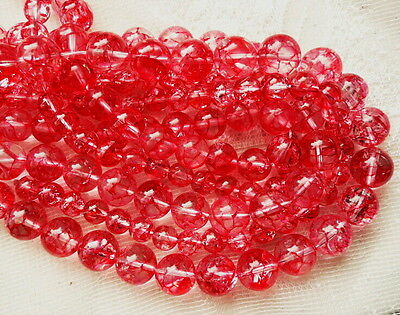 clearance- red Crackled natural rockcrystal quartz round 8 to 14 gemstone beads